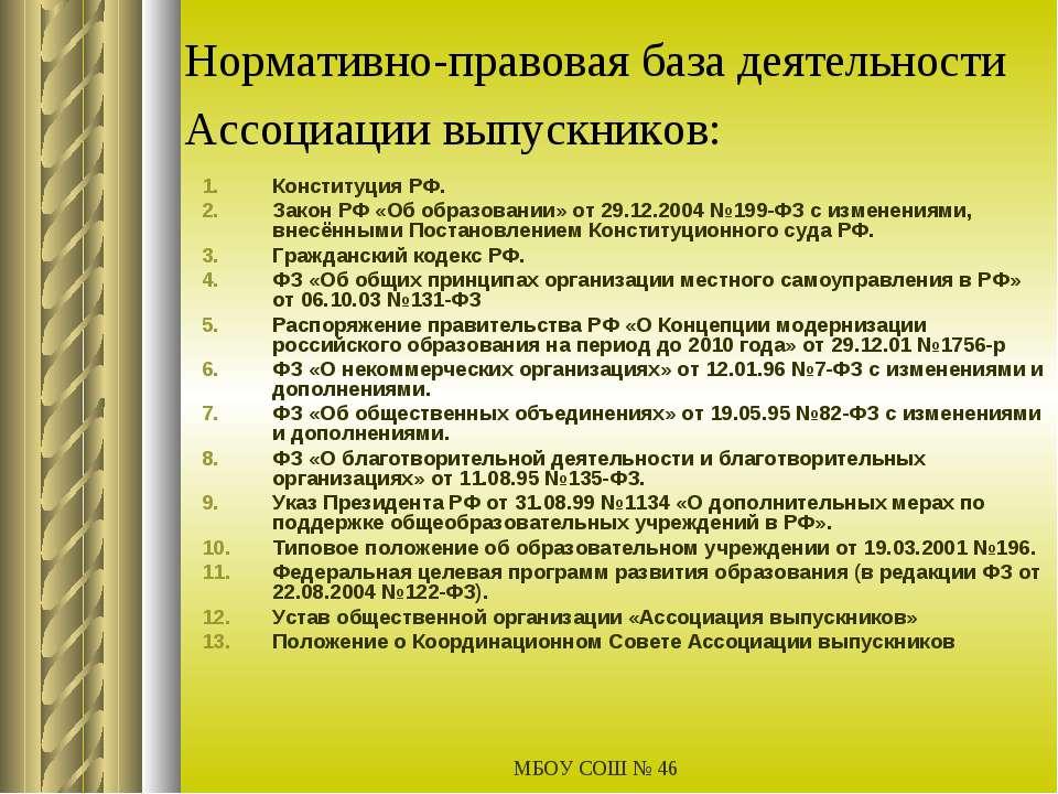 МБОУ СОШ № 46 Нормативно-правовая база деятельности Ассоциации выпускников: К...
