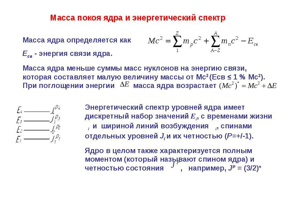 Масса покоя ядра и энергетический спектр Масса ядра определяется как Eсв - эн...