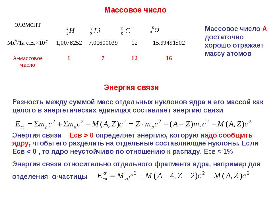 Массовое число Массовое число А достаточно хорошо отражает массу атомов Энерг...