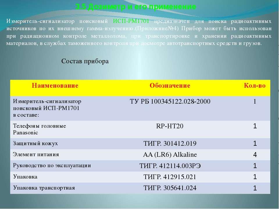 3.5 Дозиметр и его применение Измеритель-сигнализатор поисковый ИСП-РМ1701 пр...