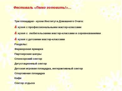 Три площадки - кухни Института Домашнего Очага: & кухня с профессиональными м...