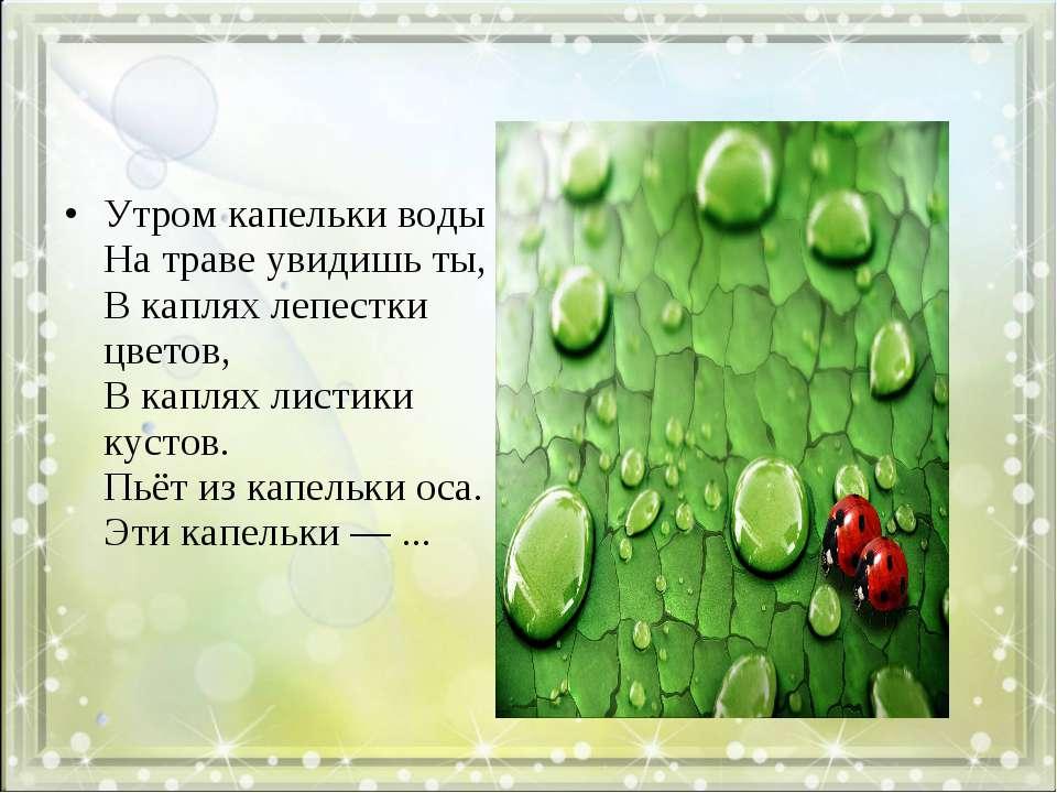 Утром капельки воды На траве увидишь ты, В каплях лепестки цветов, В каплях л...
