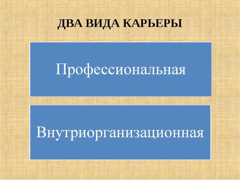 ДВА ВИДА КАРЬЕРЫ