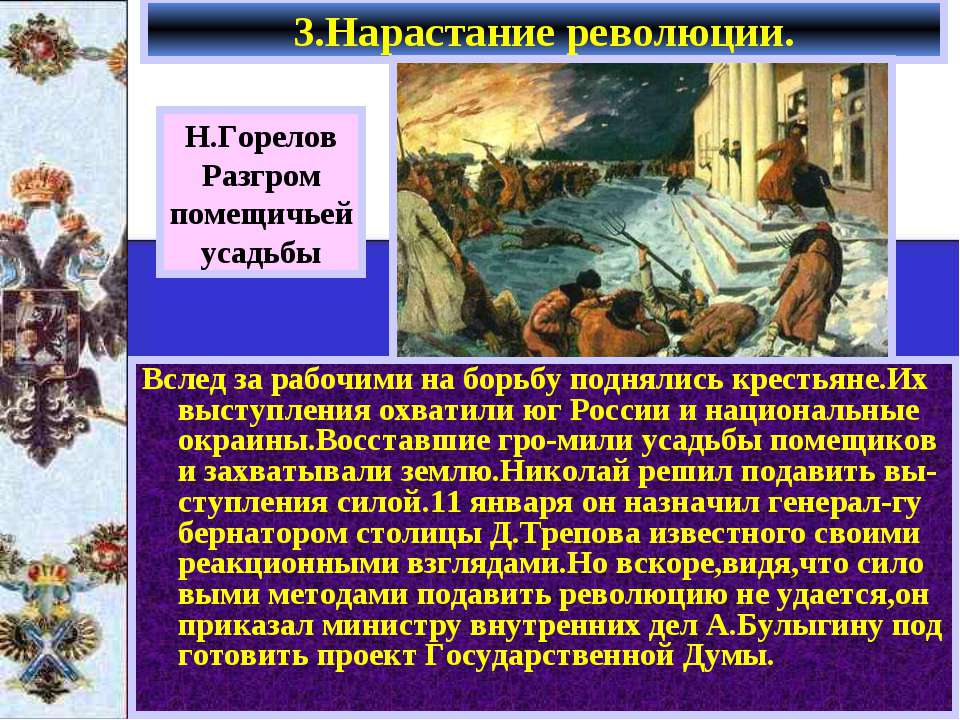 Н.Горелов Разгром помещичьей усадьбы Вслед за рабочими на борьбу поднялись кр...