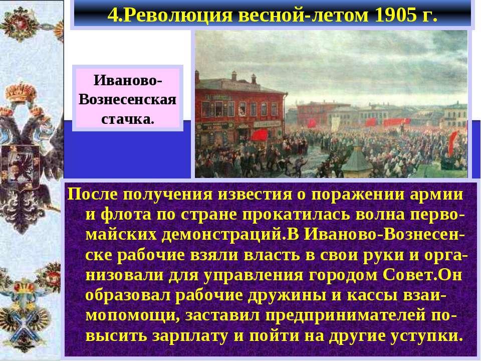 Иваново- Вознесенская стачка. После получения известия о поражении армии и фл...