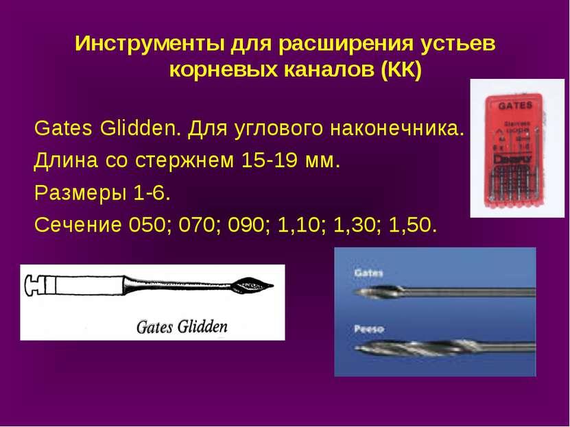 Инструменты для расширения устьев корневых каналов (КК) Gates Glidden. Для уг...