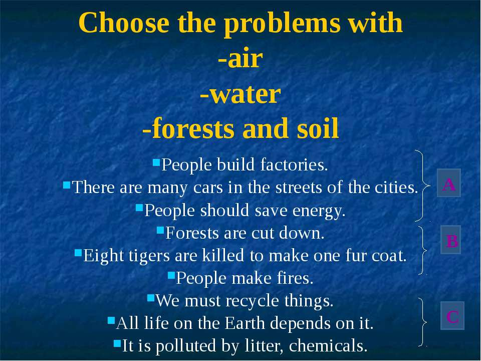 Choose the problems with -air -water -forests and soil People build factories...