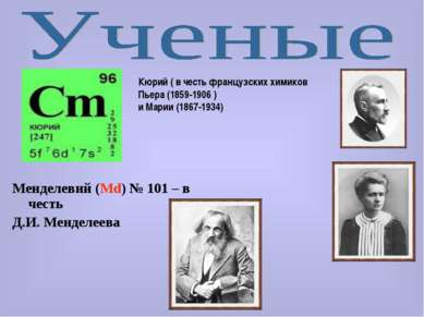 Менделевий (Md) № 101 – в честь Д.И. Менделеева Кюрий ( в честь французских х...