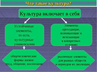 Что такое культура? Культура включает в себя Устойчивые элементы, то есть кул...