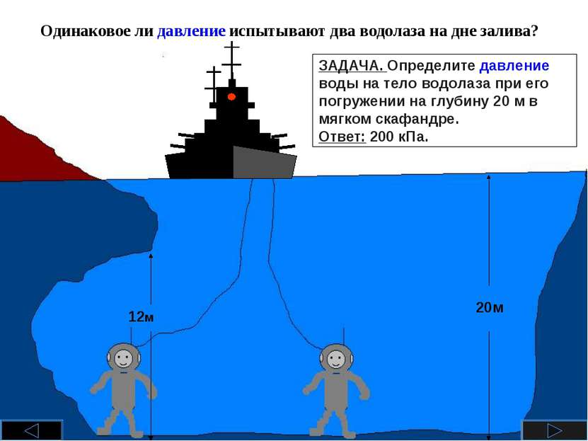 Одинаковое ли давление испытывают два водолаза на дне залива? 12м 20м ЗАДАЧА....