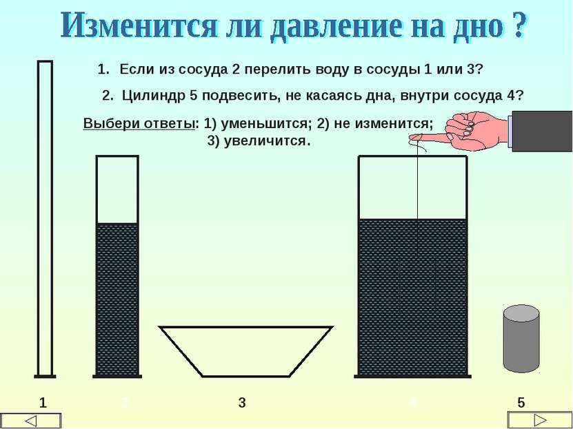 1 2 3 4 Если из сосуда 2 перелить воду в сосуды 1 или 3? 2. Цилиндр 5 подвеси...