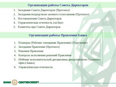 Организация работы Совета Директоров Заседания Совета Директоров (Протокол) З...