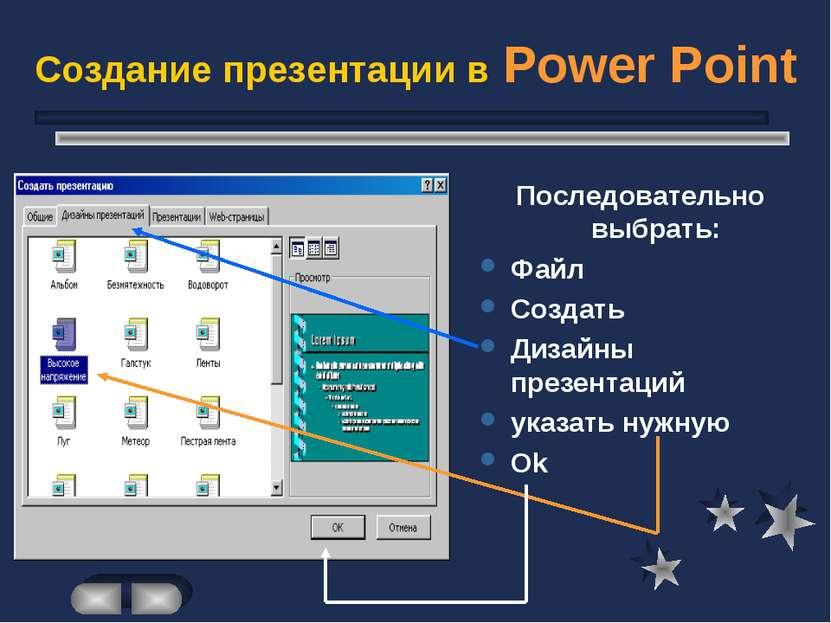 Создание презентации в Power Point Последовательно выбрать: Файл Создать Диза...