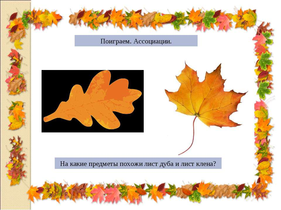 Поиграем. Ассоциации. На какие предметы похожи лист дуба и лист клена?
