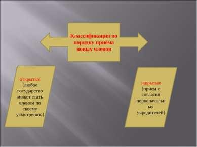 Классификация по порядку приёма новых членов открытые (любое государство може...