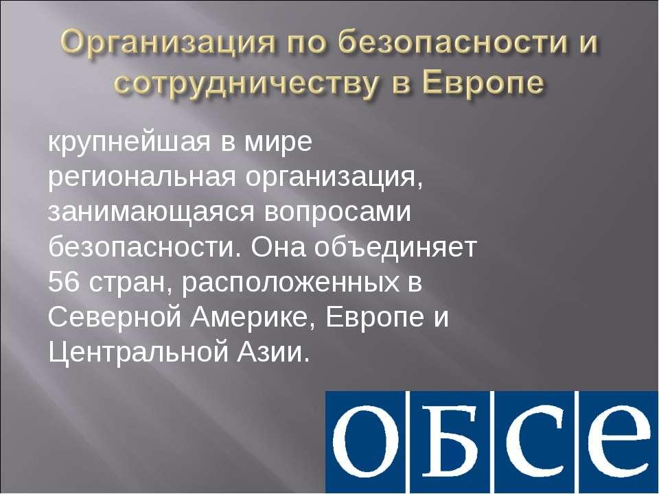 крупнейшая в мире региональная организация, занимающаяся вопросами безопаснос...