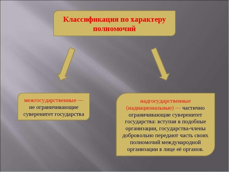 Классификация по характеру полномочий межгосударственные — не ограничивающие ...