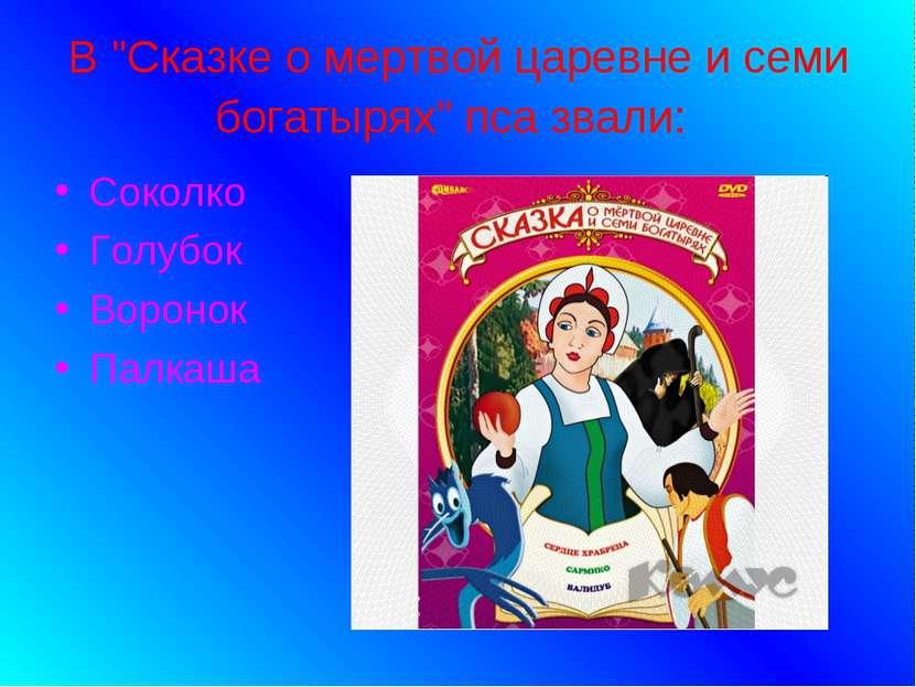 """В """"Сказке о мертвой царевне и семи богатырях"""" пса звали: Соколко Голубок Воро..."""