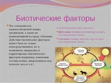 Биотические факторы Это совокупность взаимоотношений живых организмов, а такж...