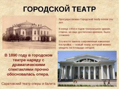 ГОРОДСКОЙ ТЕАТР . Просуществовал Городской театр почти сто лет. В конце 1950-...
