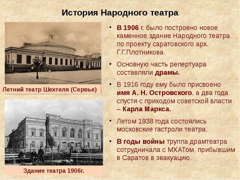 История Народного театра В 1906 г. было построено новое каменное здание Народ...
