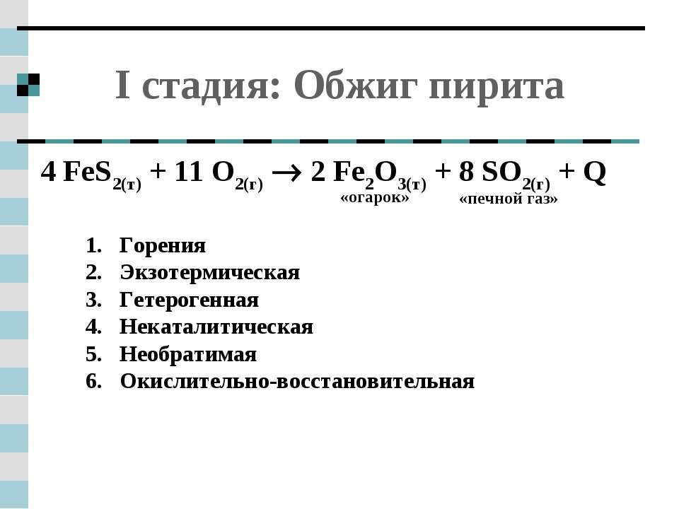I стадия: Обжиг пирита 4 FeS2(т) + 11 O2(г) 2 Fe2O3(т) + 8 SO2(г) + Q  1. ...