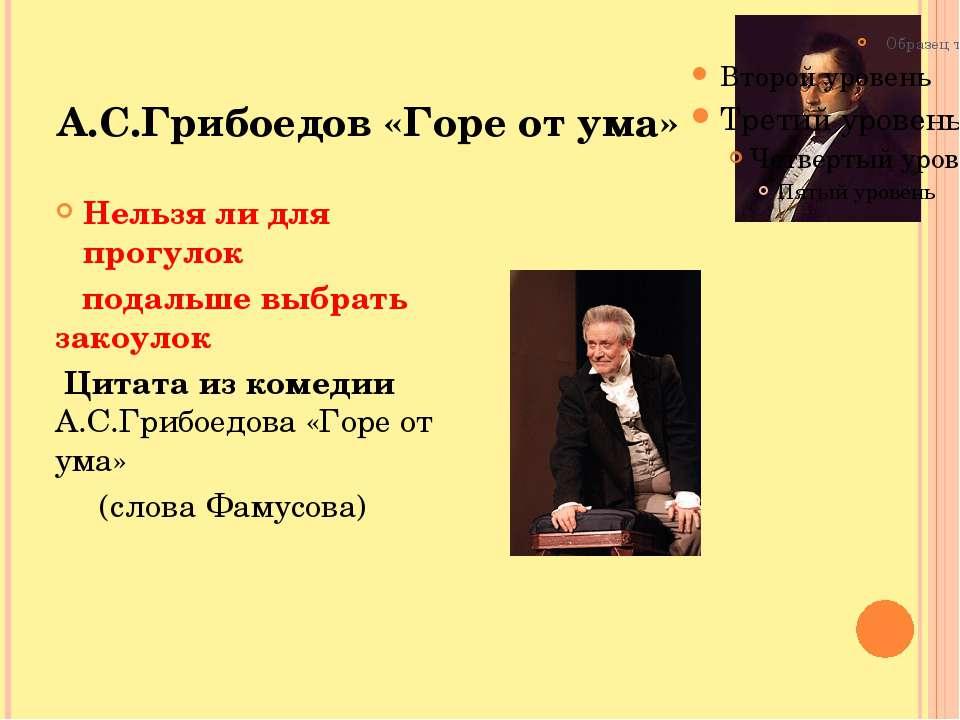 А.С.Грибоедов «Горе от ума» Нельзя ли для прогулок подальше выбрать закоулок ...