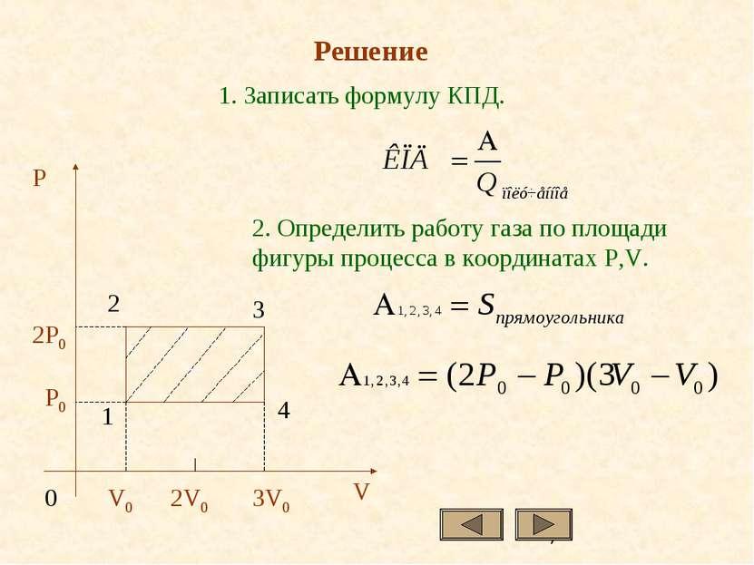 1. Записать формулу КПД. 2. Определить работу газа по площади фигуры процесса...