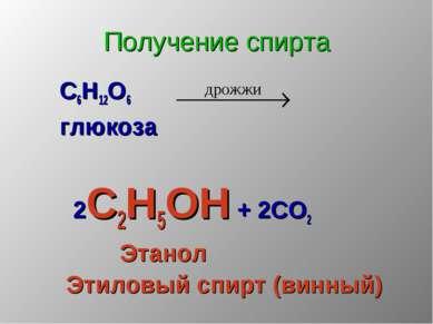 Получение спирта С6Н12О6 глюкоза 2С2Н5ОН + 2СО2 Этанол Этиловый спирт (винный)