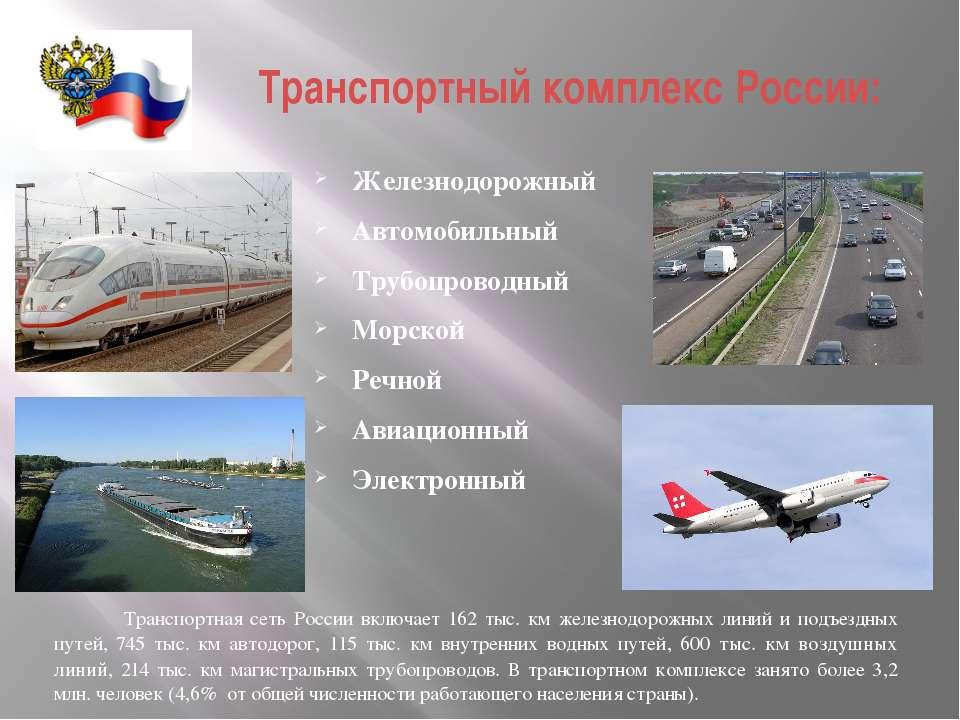 Транспортный комплекс России: Железнодорожный Автомобильный Трубопроводный Мо...
