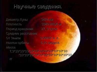 Научные сведения. Диаметр Луны 3474 км Плотность 3340 кг/куб.м Период вращени...