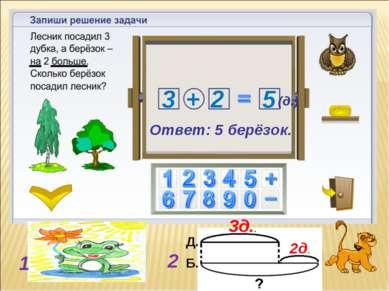 3д.. 2д. 1 2 3 2 + 5 Ответ: 5 берёзок. (д.) Д. Б.