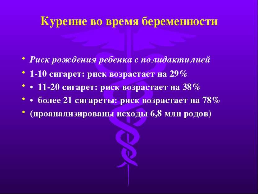 Курение во время беременности Риск рождения ребенка с полидактилией 1-10 сига...