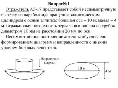 Вопрос№1 Отражатель АЗ-17 представляет собой несимметричную вырезку из парабо...