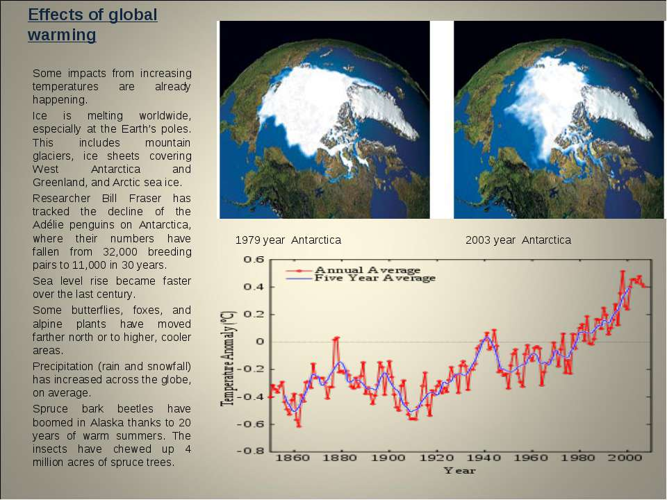 Effects of global warming Some impacts from increasing temperatures are alrea...