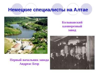 Немецкие специалисты на Алтае Колыванский камнерезный завод Первый начальник ...