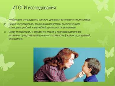 ИТОГИ исследования: Необходимо осуществлять контроль динамики воспитанности ш...