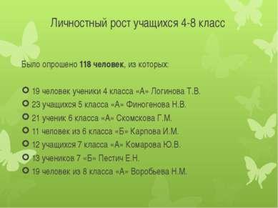Личностный рост учащихся 4-8 класс Было опрошено 118 человек, из которых: 19 ...
