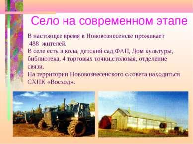 Село на современном этапе В настоящее время в Нововознесенске проживает 488 ж...