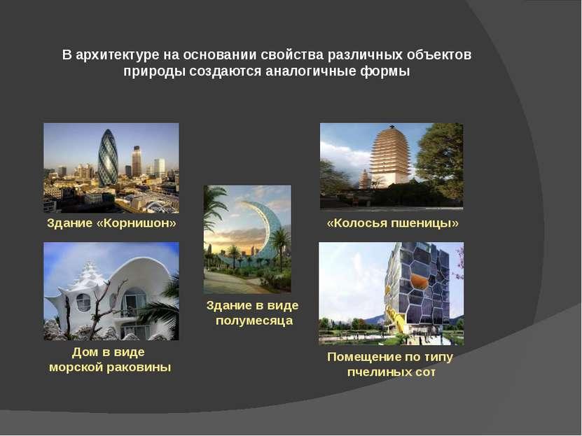 В архитектуре на основании свойства различных объектов природы создаются анал...