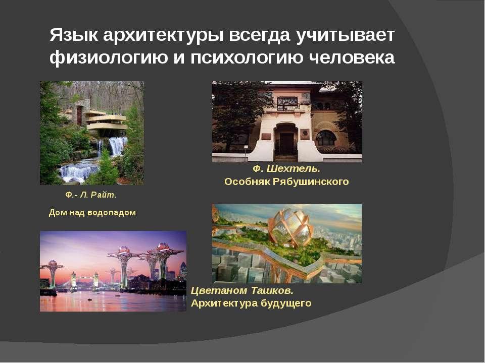 Язык архитектуры всегда учитывает физиологию и психологию человека Ф.- Л. Рай...