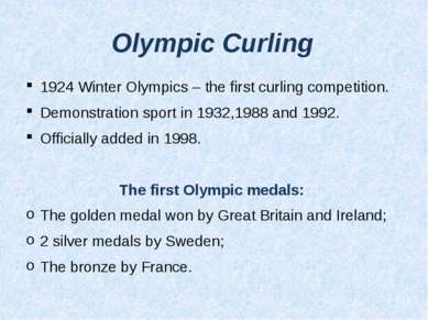 Olympic Curling 1924 Winter Olympics – the first curling competition. Demonst...