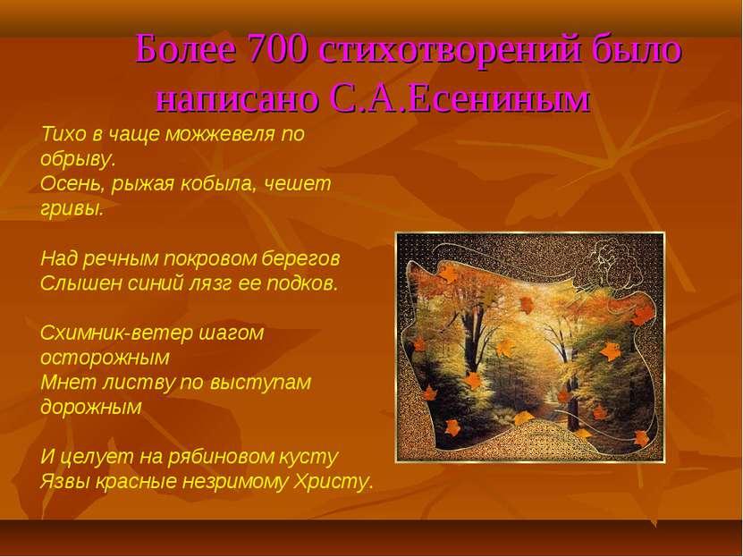 Более 700 стихотворений было написано С.А.Есениным Тихо в чаще можжевеля по о...