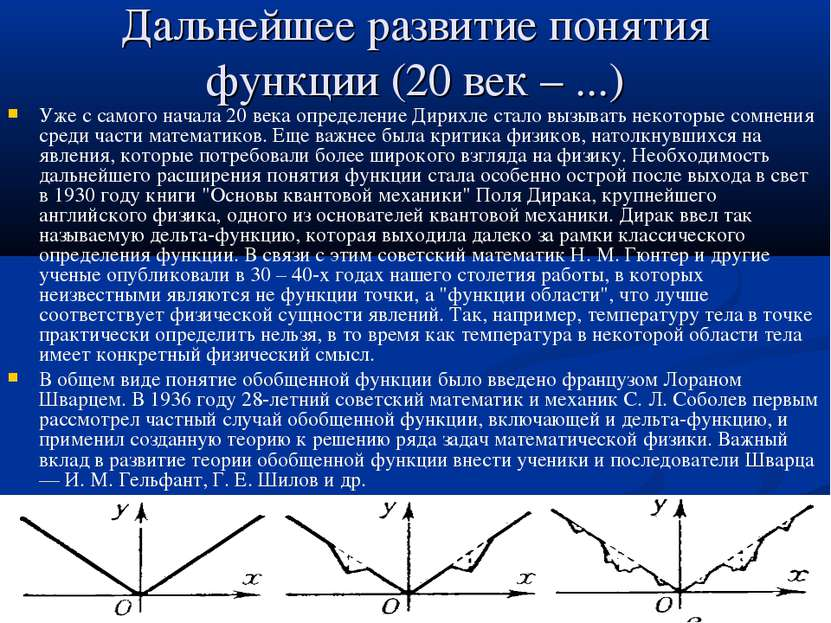 Дальнейшее развитие понятия функции (20 век – ...) Уже с самого начала 20 век...