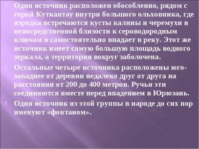 Один источник расположен обособленно, рядом с горой Куткантау внутри большого...