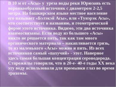 В 10 м от «Асы» у уреза воды реки Юрюзань есть воронкообразный источник с диа...