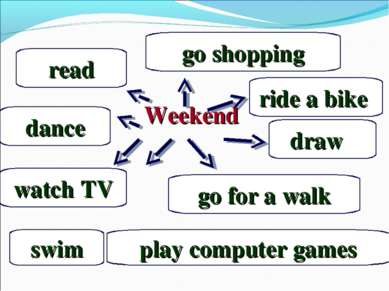 Weekend watch TV dance play computer games go for a walk read draw go shoppin...