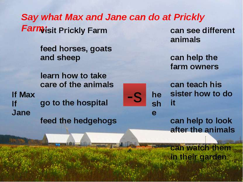 Say what Max and Jane can do at Prickly Farm: -s IfMax If Jane visit Prickly ...