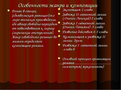 Особенности жанра и композиции Роман в стихах («дьявольская разница»),т.е лир...