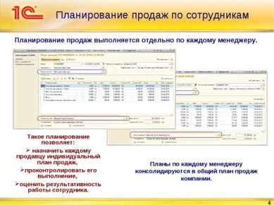 * Планирование продаж по сотрудникам Планирование продаж выполняется отдельно...